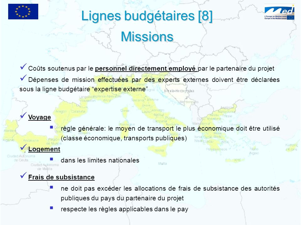 Lignes budgétaires [8] Missions